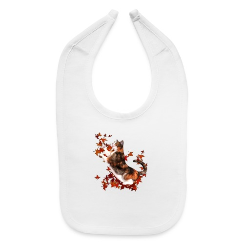 Autumn Cat - cat playing with autumn leaves - Baby Bib