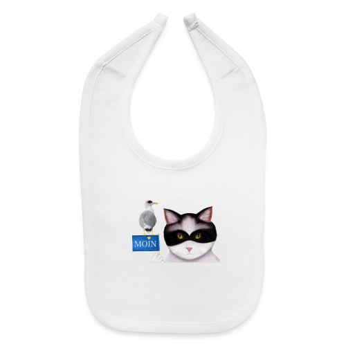 The masked Cat says MOIN - Baby Bib