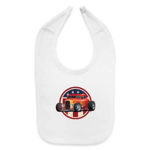 Vintage American 32 Hot Rod Coupe Car Illustration - Baby Bib