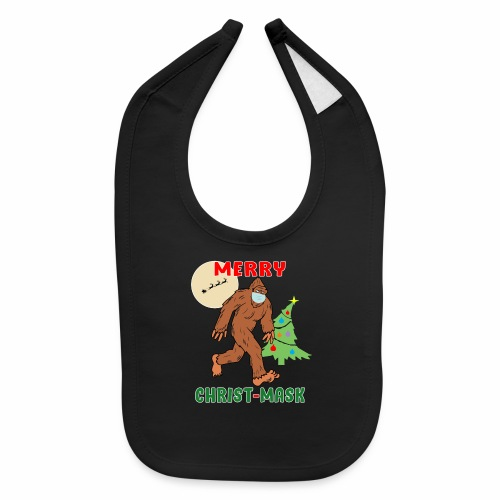 Merry Christmask Sasquatch Mask Social Distance. - Baby Bib