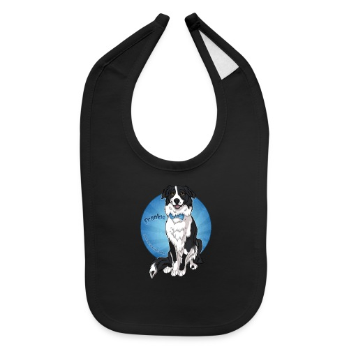 Border Collie Frankie Full Colour With Name - Baby Bib