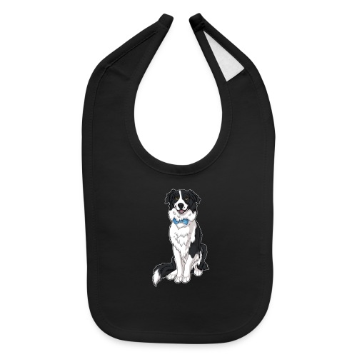Border Collie Frankie - Transparent Background - Baby Bib