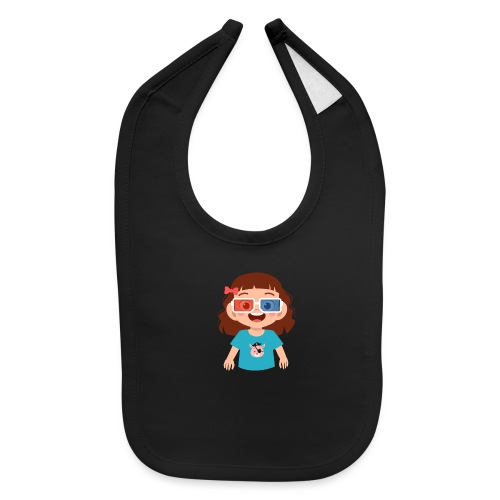 Girl red blue 3D glasses doing Vision Therapy - Baby Bib