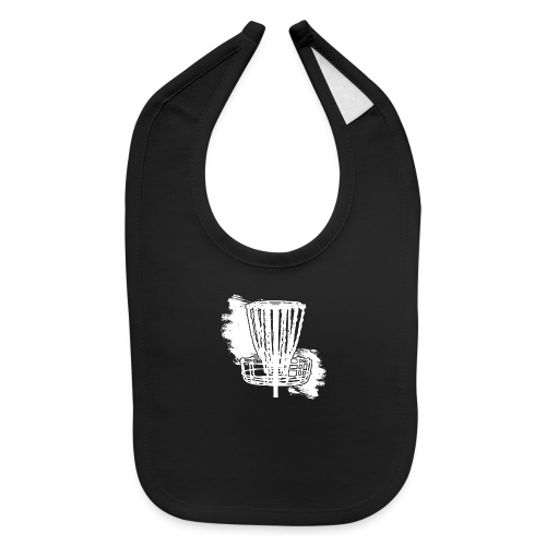 Disc Golf Basket White Print - Baby Bib