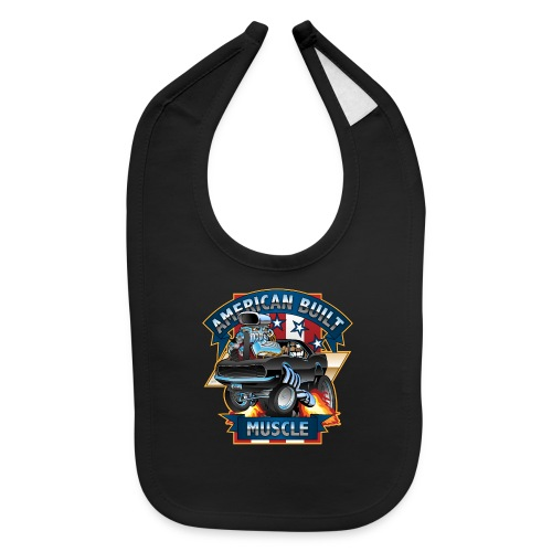 American Built Muscle - Classic Muscle Car Cartoon - Baby Bib