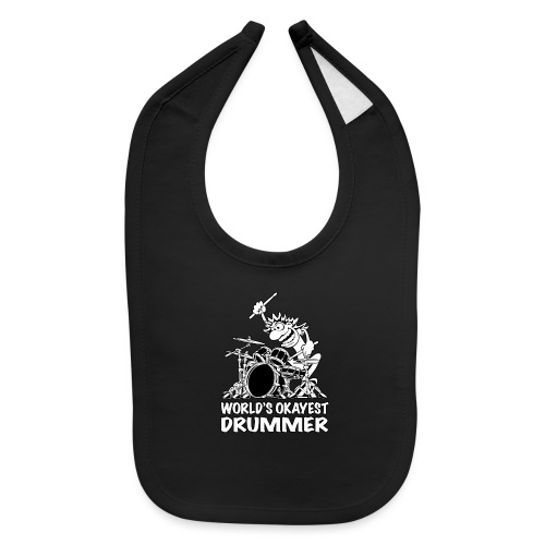 World's Okayest Drummer Cartoon Illustration - Baby Bib