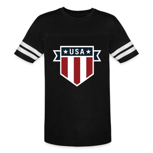 USA Pride Red White and Blue Patriotic Shield - Vintage Sport T-Shirt