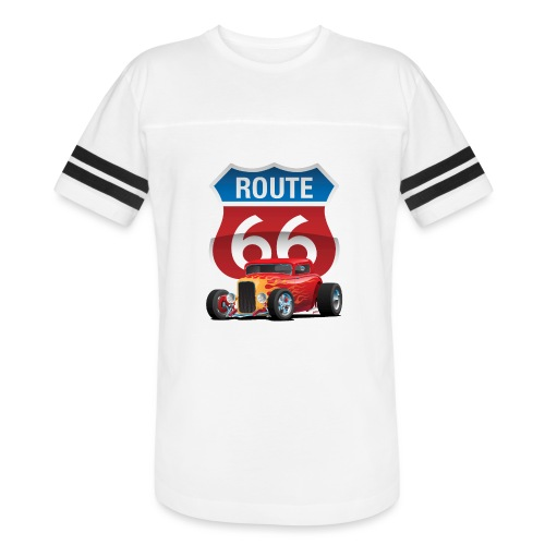 Route 66 Sign with Classic American Red Hotrod - Vintage Sport T-Shirt