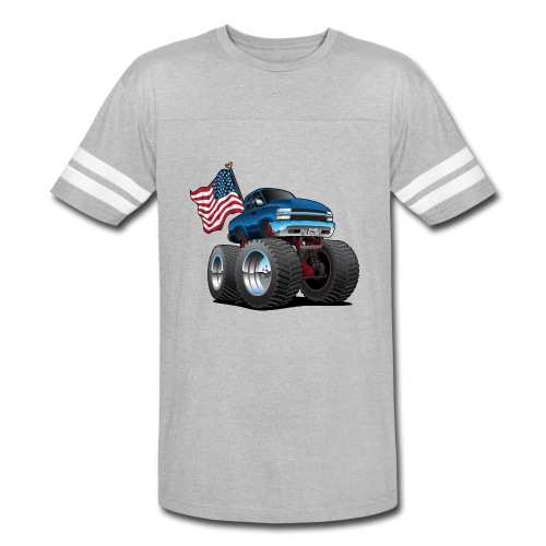 Monster Pickup Truck with USA Flag Cartoon - Vintage Sport T-Shirt