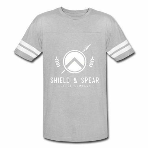 Shield and Spear White Logo - Vintage Sport T-Shirt