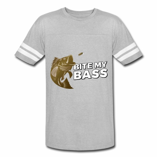 Bass Chasing a Lure with saying Bite My Bass - Vintage Sport T-Shirt