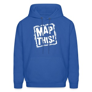 MapThis! White Stamp Logo - Men's Hoodie