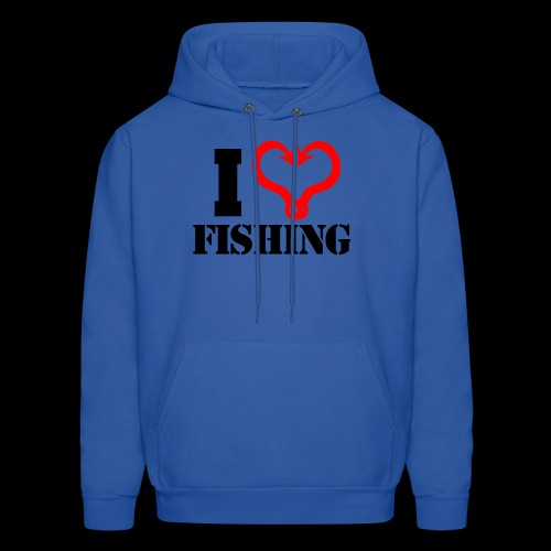 02 I heart fishing BLACK - Men's Hoodie