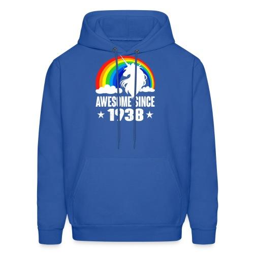 Rainbow Unicorn T-Shirt Awesome Since 1938 80th Bi - Men's Hoodie