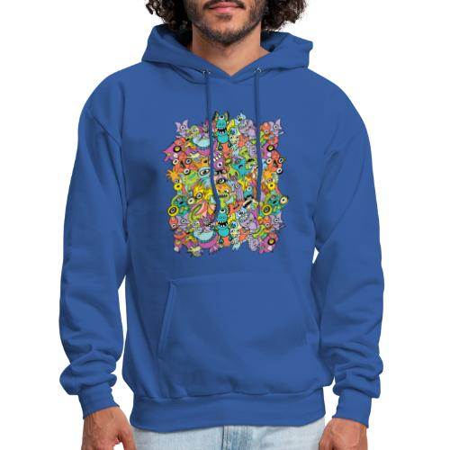 Aliens of the universe posing in a pattern design - Men's Hoodie