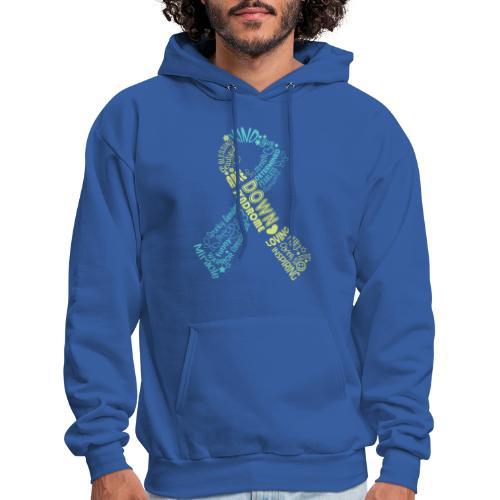 Down syndrome Ribbon Wordle - Men's Hoodie