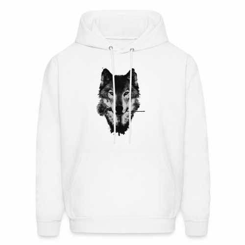 Wolf and Rose Black - Men's Hoodie
