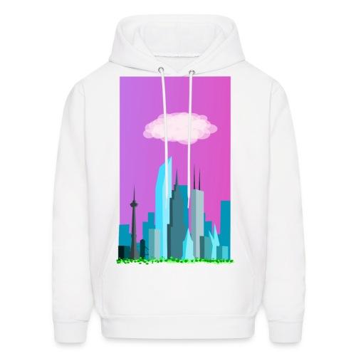 Cloudy evening city skyline - Men's Hoodie
