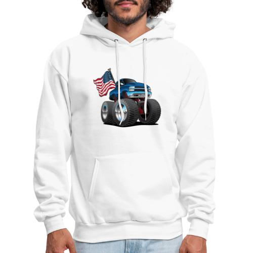 Monster Pickup Truck with USA Flag Cartoon - Men's Hoodie