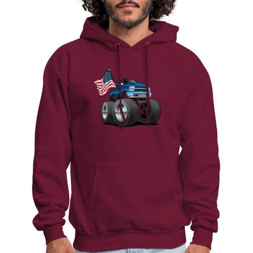 Monster Pickup Truck with USA Flag Cartoon - Men's Hoodie