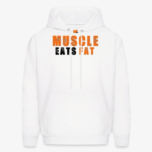 Muscle Eats Fat Black Orange Edition - Men's Hoodie