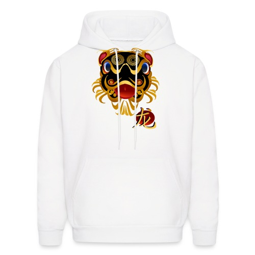 Black n Gold Chinese Dragon 's Face and Symbol - Men's Hoodie