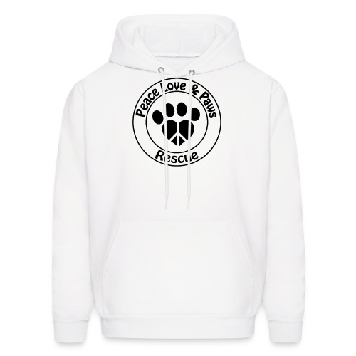 Peace Love & Paws Rescue Black Logo - Men's Hoodie