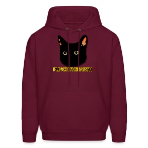 PunchTheEarth Cat with Text - Men's Hoodie