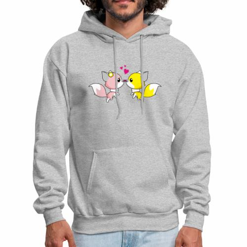 Two cute little foxes kissing and being in love - Men's Hoodie