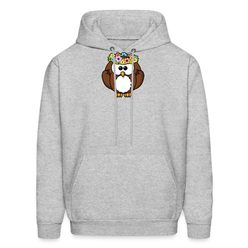 Owl With Flowers On Head T-Shirt - Men's Hoodie