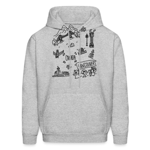 vancouver Canada themed hand drawn cute artwork - Men's Hoodie