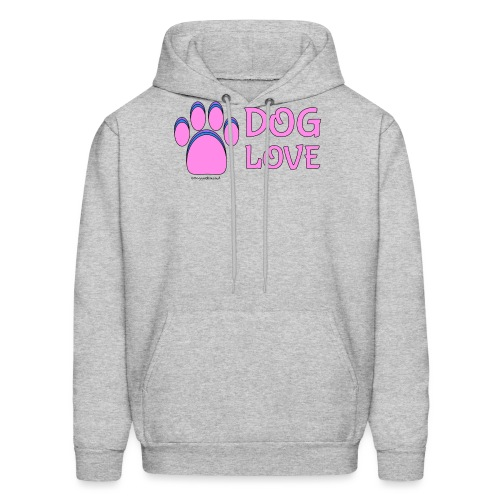 Pink Dog paw print Dog Love - Men's Hoodie