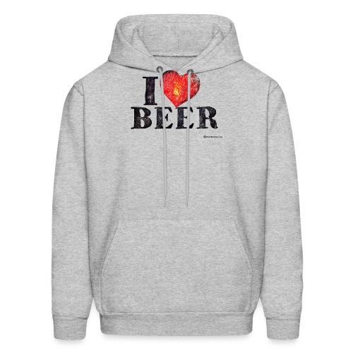 I Love Beer Distressed - Men's Hoodie