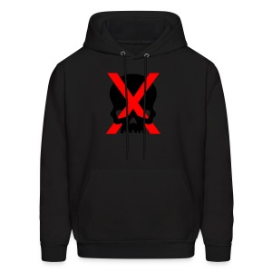 red x and black skull - Men's Hoodie