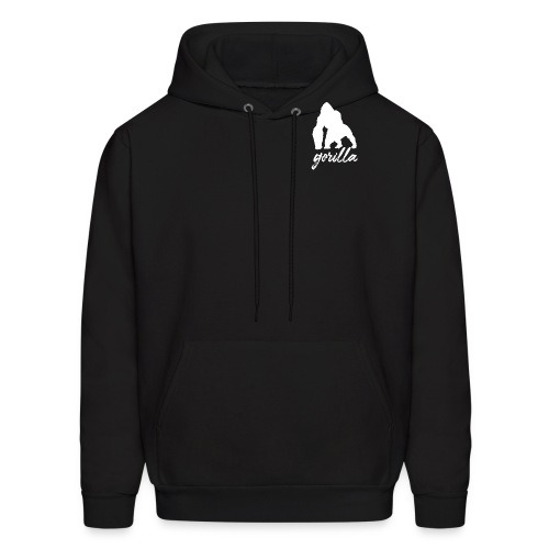 Gorilla Logo, White W/ Text - Men's Hoodie