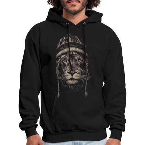 Lion white hat beanie king animal - Men's Hoodie