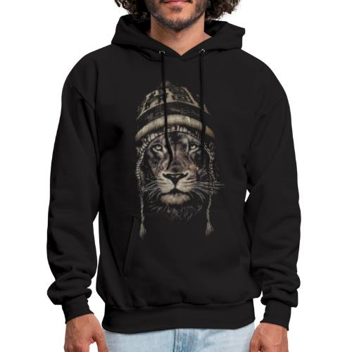 Lion white hat beanie king animal - Men's Hoodie