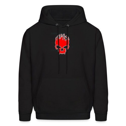 Flaming Red Skull with Tribal Flames - Men's Hoodie