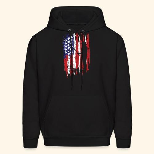 Fisherman US Flag - Men's Hoodie