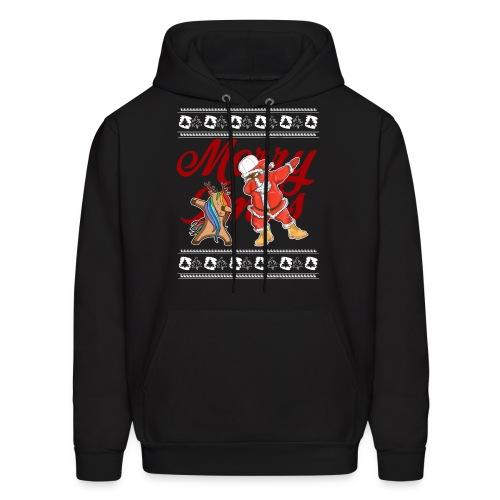 Dabbing Rudolf and Black Santa Christmas Shirt - Men's Hoodie