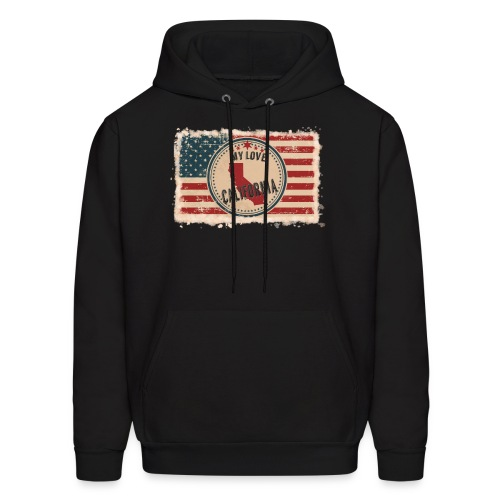 California State Silhouette on Vintage US Flag - Men's Hoodie