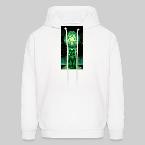 Green Satanic Cat and Pentagram Stained Glass - Men's Hoodie