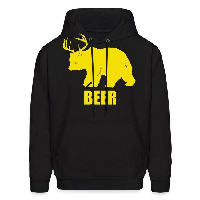 BEER Bear Funny Drinking Mens Hoodie