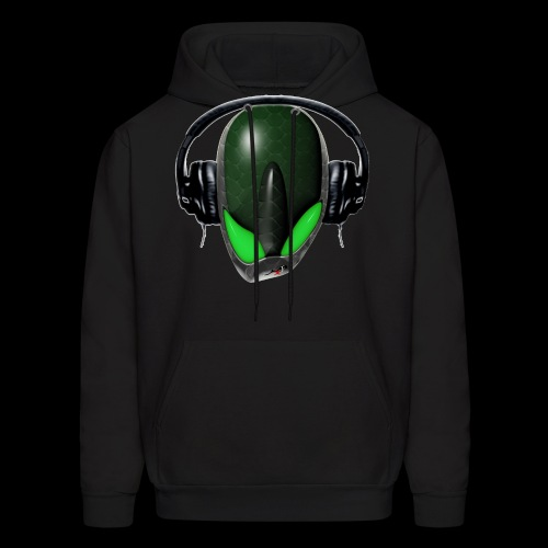 Green Reptoid Alien Pissed Off DJ in Headphones - Men's Hoodie