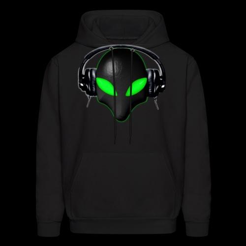 Alien Bug Face Green Eyes in DJ Headphones - Men's Hoodie