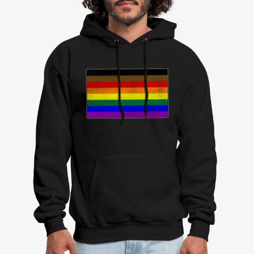 Distressed Philly LGBTQ Gay Pride Flag - Men's Hoodie