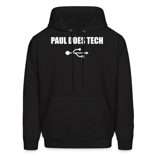 Paul Does Tech White Logo With USB - Men's Hoodie