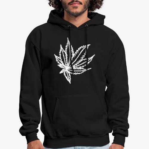 white leaf w/myceliaX.com logo - Men's Hoodie