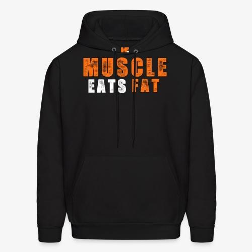 Muscle Eats Fat White Orange Edition - Men's Hoodie