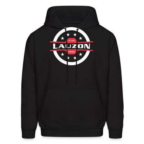 White on Black Lauzon MMA Logo w No Words - Men's Hoodie